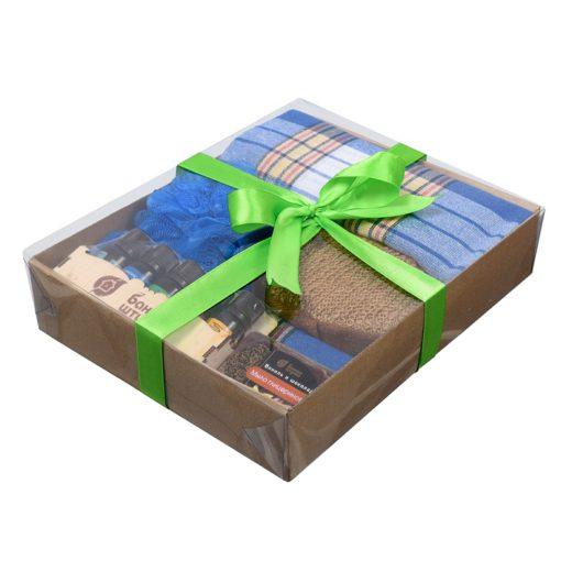 """Купить с доставкой Подарочный Банный набор для мужчин """"Синий"""""""